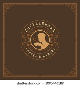 Coffee shop label design template vector illustration. Man holding cup silhouette, good for cafeteria signage and cafe badge. Retro typography emblem.