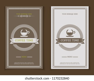 Coffee shop logo, card and menu design vector brochure template. Coffee cup silhouette. Decorative vector background.