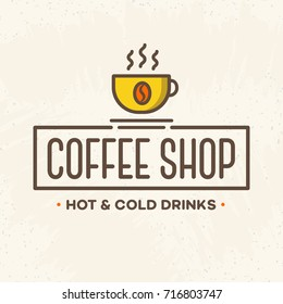 Coffee shop logo with cup color style isolated on background for cafe, shop, restaurant. Vector design elements, logos, identity, labels, badges and other branding objects. Vector illustration.