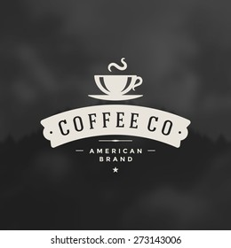 Coffee Shop Logo Design Element in Vintage Style for Logotype, Label, Badge and other design. Cup retro vector illustration.