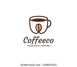 Coffee shop logo design. Symbol of cup with coffee bean in linear style