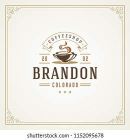 Coffee shop logo design template vector illustration. Cup silhouette, good for cafeteria signage and cafe badge. Retro typography emblem.