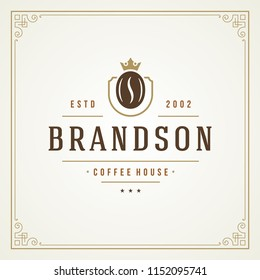 Coffee shop logo design template vector illustration. Bean silhouette, good for cafeteria signage and cafe badge. Retro typography emblem.