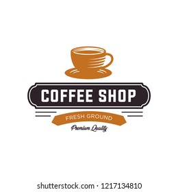 Coffee shop logo design template. Retro coffee emblem. cafe logo. coffe. vector illustration. editable. coffee shop illustration design elements vintage vector