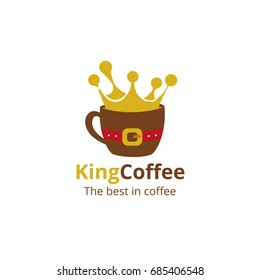Coffee shop logo design template. King coffee emblem. Vector art.