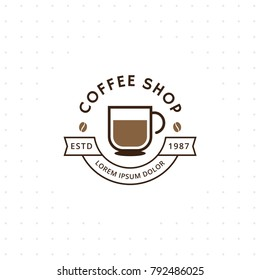 Coffee shop logo. Coffee logo for coffee house or shop. Vector badge or logotype with cup. Cafe house logotype. Vector illustration
