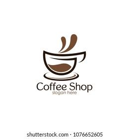 Coffee Shop Logo Icon Design Template. Cappuccino Cafe Vector Illustration
