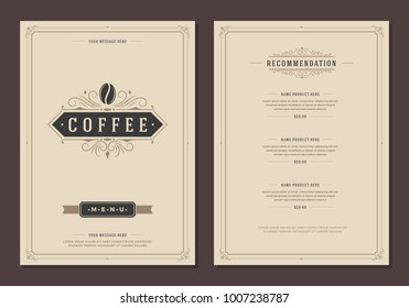 Coffee shop logo and menu design vector brochure template. Coffee bean silhouette.