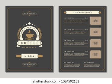 Coffee shop logo and menu design vector brochure template. Coffee cup silhouette.
