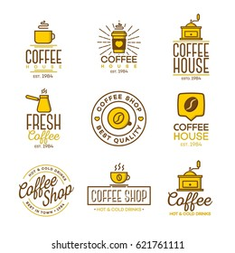 Coffee shop logo set isolated on white background. Vector design elements, business signs, logos, identity, labels, badges and other branding objects for your business. Vector illustration.