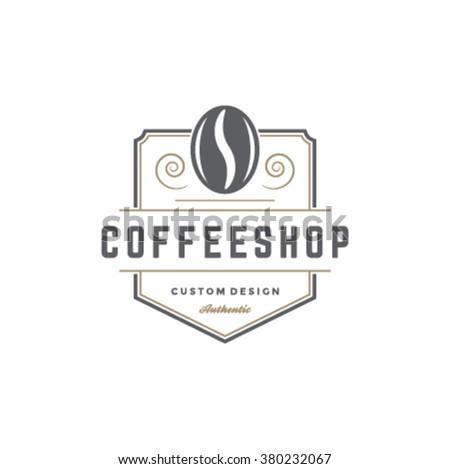 Coffee Shop Logo Template Bean Silhouette Stock-Vektorgrafik ...
