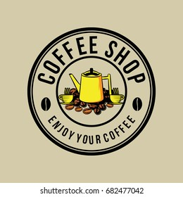 Coffee Shop Logo Template. coffeepot, bean, and cup Silhouette Isolated On brown Background. Vector object for Labels, Badges, Logos Design. Coffee Logo, Bean Logo, Coffee Bean