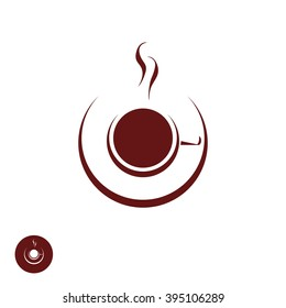 Coffee shop logo template, natural abstract coffee cup with steam, coffee house emblem, creative cafe logotype, modern trendy symbol design vector illustration isolated on white background sign