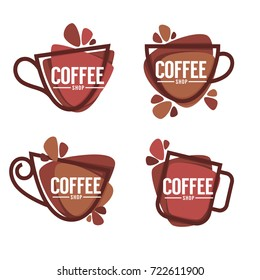 Coffee shop logo. Vector collection of hot and sweet drinks symbols and emblems