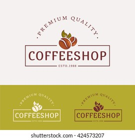 Coffee shop logos. Templates for color and monochrome versions. Logotypes isolated on clean background. Vector illustration.