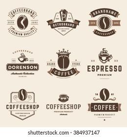 Coffee Shop Logos Templates Set. Bean Silhouette Isolated On White Background. Vector object for Labels, Badges, Logos Design. Coffee Logo, Bean Logo, Coffee Bean Symbol, Retro Logo, Bean Icon