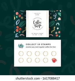 Coffee shop loyalty card, discount coupon for collection stamps, buy 9, get one drink for free. Pre-made vector layout, modern design with illustrations and logo, good for cafeteria or cafe