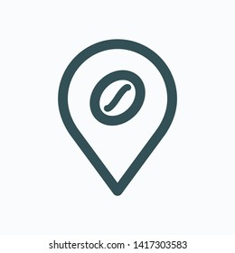 Coffee shop map location pin isolated icon, coffee store map marker linear vector icon