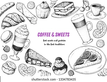 Coffee shop menu design. Hand drawn sketch illustration. Coffee and desserts. Cafe menu elements. Desserts for breakfast.