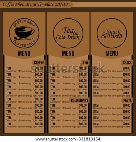 Coffee shop menu template 1 stock vector royalty free 331810154 coffee shop menu template 1 maxwellsz