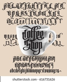 Coffee Shop - modern gothic style font with white cup. Gothic letters with alternate decoration elements. Vector alphabet