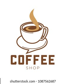 Coffee shop promo emblem with cup of hot beverage