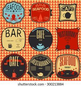 coffee shop, restaurant Set retro vintage badges, ribbons and labels hipster signboard