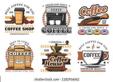 Coffee shop retro icons with hot drink and beverage. Cup of espresso, cappuccino and latte, coffee machine, grinder and paper package isolated icon with coffee bean and donut