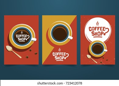 Coffee shop retro minimalist poster set. Logo, cup and grains top view. Decorative element for coffee house and HoReCa. Applicable for advertising banner,menu, flyer. A4 size. Vector illustration.