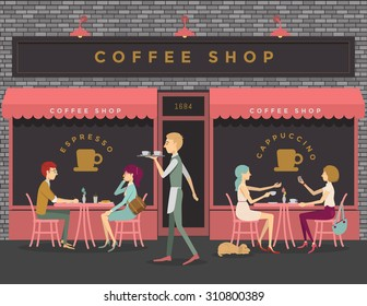 Coffee shop scene of people eating, chatting, meeting