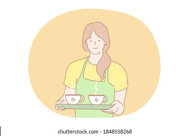 Coffee shop, service, advertising concept. Young smiling woman girl barista waitress in apron holding tray with two cups of hot beverage tea. Coffeehouse advertisement and taking order illustration.