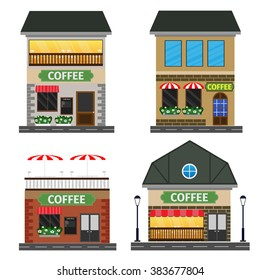 Coffee shop. Set of nice shops