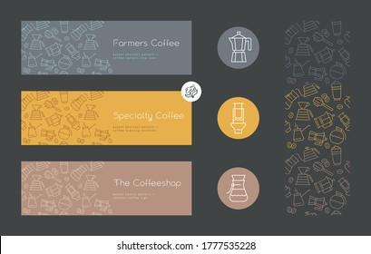 Coffee shop sign. Specialty coffee concept with vector linear icons. Coffee brewing methods horizontal banner. Template label design for farmer coffee. Arabica badge on textured dark background.