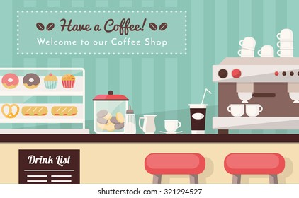 Coffee shop and snack bar banner, bar counter with snacks, espresso cup, take away coffee and coffee machine
