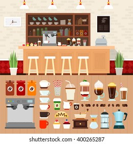 Coffee shop vector flat illustrations. Coffee bar interior with cakes, coffee machines and cooking utensils on the shelves. Rest and snack concept. Different kinds of coffee and equipment isolated