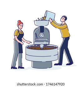 Coffee shop workers roasting fresh bean in roaster machine. Coffee production process. Cartoon man and woman barista working with industry equipment. Linear vector illustration