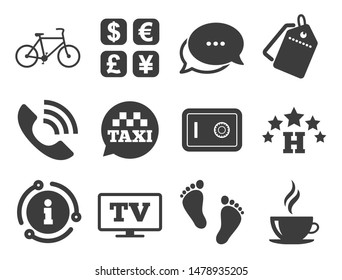 Coffee sign. Discount offer tag, chat, info icon. Hotel, apartment services icons. Phone call, kid-friendly and safe strongbox symbols. Classic style signs set. Vector