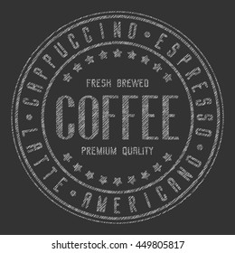 Coffee sign. The inscription coffee in chalk on a chalkboard. Round stamp or icon coffee. Vector illustration EPS-10 isolated on a dark background.