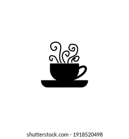 Coffee silhouette isolated on white background. Vector illustration of a coffee drink. Silhouette vector illustration. Coffee clip art.