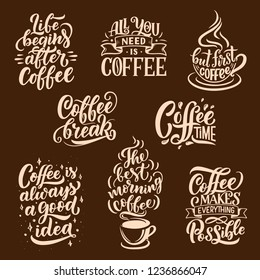 Coffee sketch lettering. Vector steaming coffee cups of americano, espresso and chocolate cappuccino mug for restaurant, cafe and cafeteria signboard