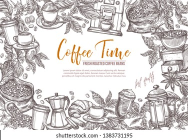 Coffee sketch vector background. Hand drawn detailed illustration for café menu with coffee tree and branches, cups, beans, mill
