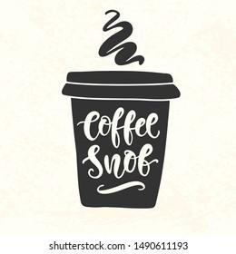 Coffee Snob inscription. Coffee mug silhouette vinyl sticker. Hand Lettering, cup black shape. T shirt design. Modern calligraphy retro style decoration, typography poster. Vector illustration