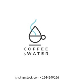 Coffee and soft drink vector logo. Cafe logo. Coffee cup and water drop logo