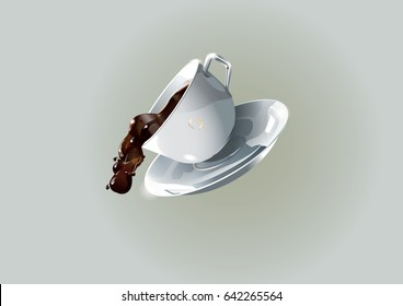 coffee spill from ceramic Cup. Vector illustration