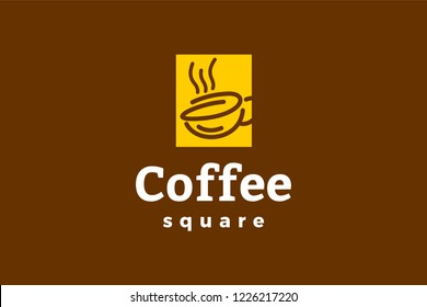 Coffee square logo template with type of line art logo inspiration. Can use for corporate brand identity, coffee shop, cafe, and restaurant