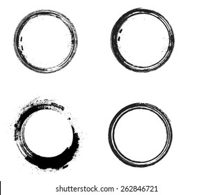 Coffee Stain Ring Vector  Shape - Circle Stamps - Round Brush Stroke - Icon, Logo, Banner Design .