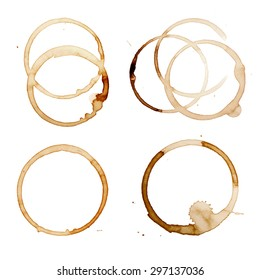 Coffee Stain Rings Set of four Vector illustration