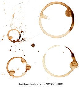 Coffee Stain Rings Set of four Vector illustrations