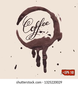 Coffee stains. Trace coffee splashes and blots prints set. Vector illustration. Lettering.
