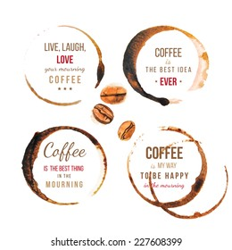 Coffee stains with type designs
